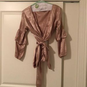 Satin balloon sleeve blouse, ties around waist